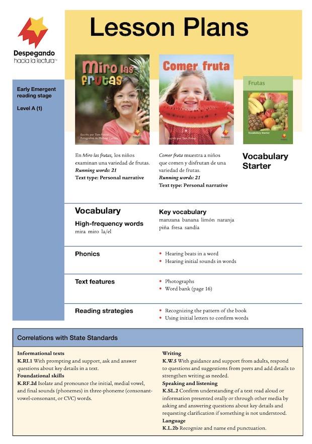 Miro las frutas / Comer fruta Lesson Plan