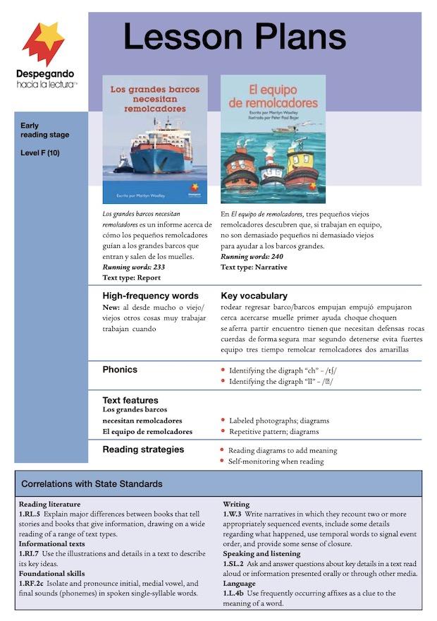Los grandes barcos necesitan remolcadores / El equipo de remolcadores Lesson Plan