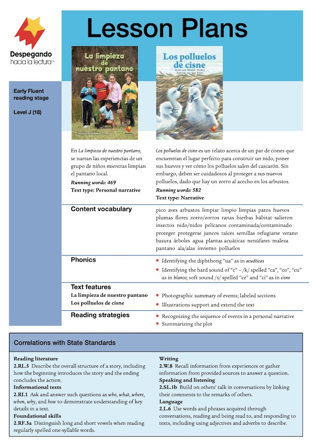 La limpieza de nuestro pantano / Los polluelos de cisne Lesson Plan