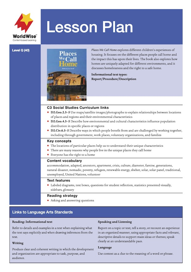Places We Call Home Level Q Lesson Plan