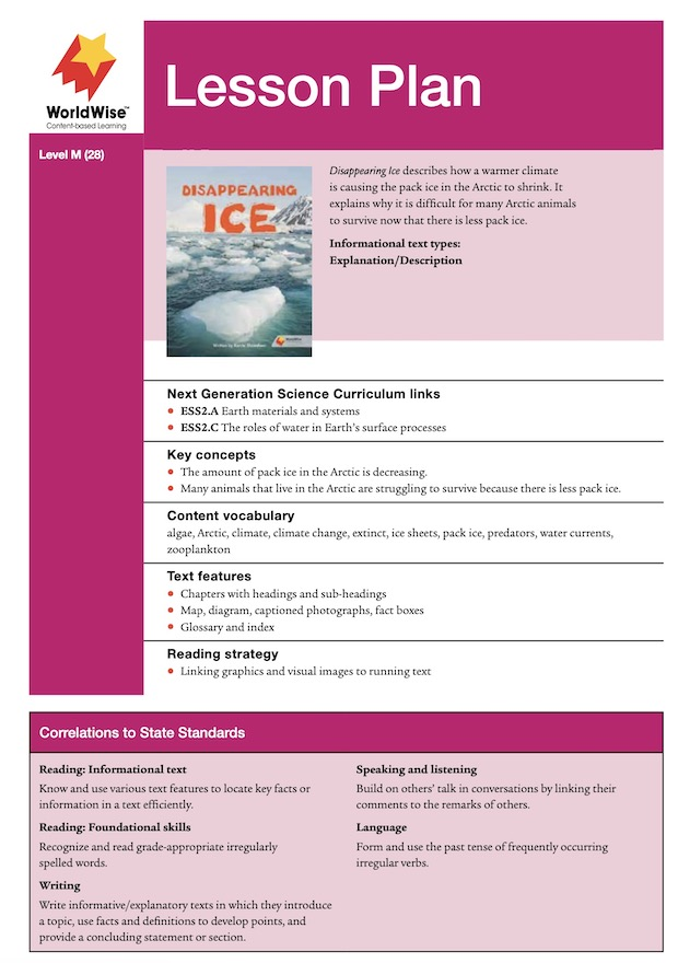 Disappearing Ice Level M Lesson Plan