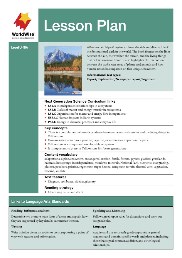 Yellowstone: A Unique Ecosystem Level U Lesson Plan
