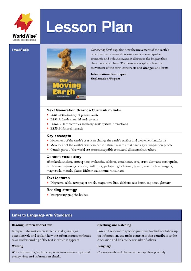 Our Moving Earth Level S Lesson Plan